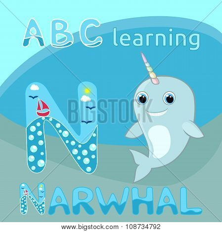 N letter ABC kids Baby narwhal w rainbow horn vector illustration Cute cartoon narwhal vector Sea ma