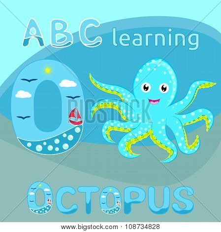 O Is For Octopus ABC kids Sea animal alphabet O letter Cute baby octopus vector Cyan blue spotted ca