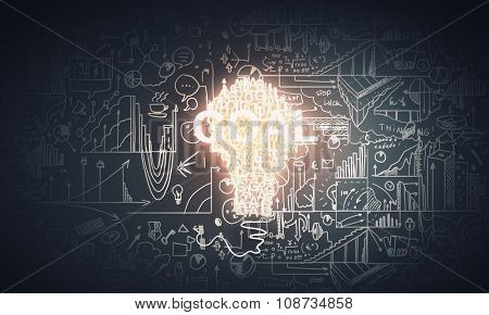 Concept of business ideas and strategy on sketched background