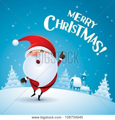 Merry Christmas! Santa Claus pointing finger up in Christmas snow scene.