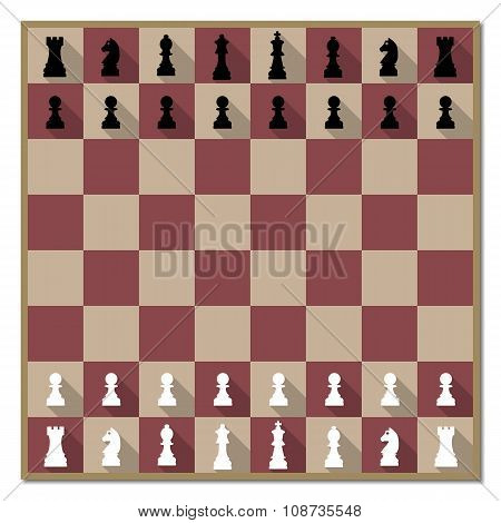 Chess Board With Figures Vector Illustration.