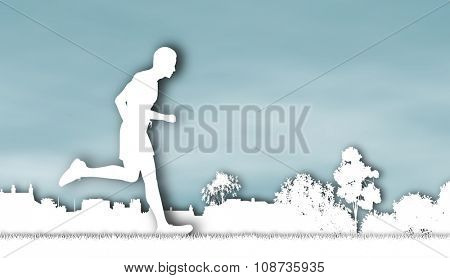 Cutout illustration of a jogger running through an urban park