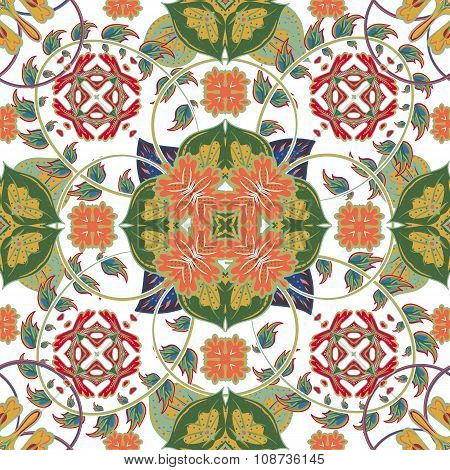 Turkish, Arabic, African Ottoman Empire's era traditional seamless ceramic tile, vector floral patte