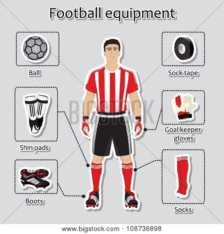 Soccer player uniform. sport equipment for football