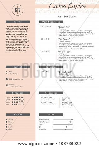 Vestor creative resume template. Minimalist style. CV infographic elements.