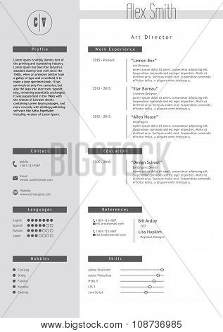 Vestor resume template. Minimalist style. CV infographic elements.