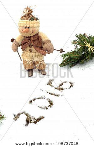 Snowman celebrates the New year