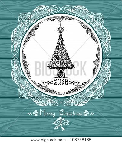 Christmas Tree in circle  in Zen-doodle style with lace on blue wood background