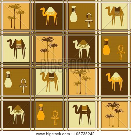 Seamless Pattern With Camels And Palm Trees