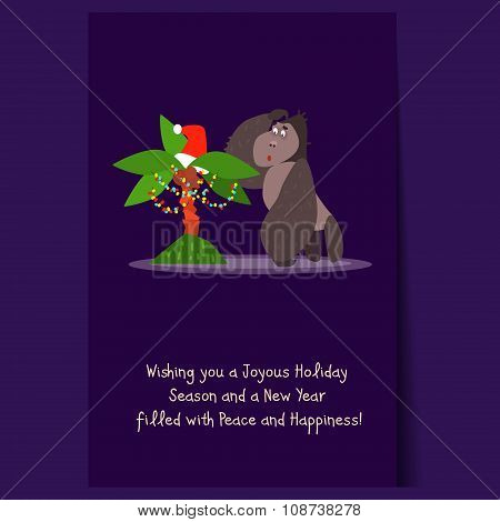 Gorilla and Christmas Palm Tree. Flat Vector