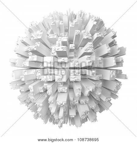 Globe With Abstract Skyscrapers