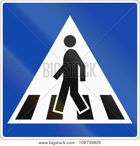 Norwegian Regulatory Road Sign - Zebra Crossing