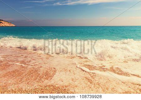 Beautiful Myrtos beach on Kefalonia island, Greece