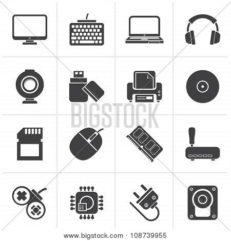 Black Computer peripherals and accessories icons