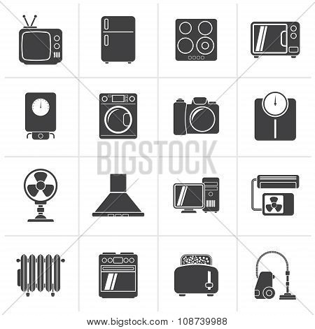 Black home appliances and electronics icons