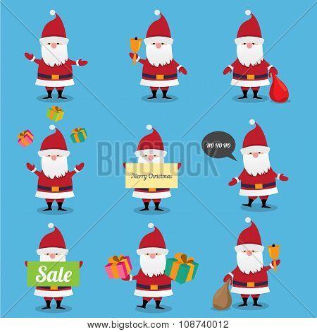 Santa Claus collection. vector illustration