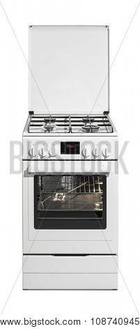 White kitchen stove isolated on white background with clipping path.