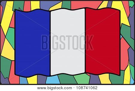 French Flag On Stained Glass