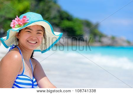 Happy Girl On The Beach At Thailand