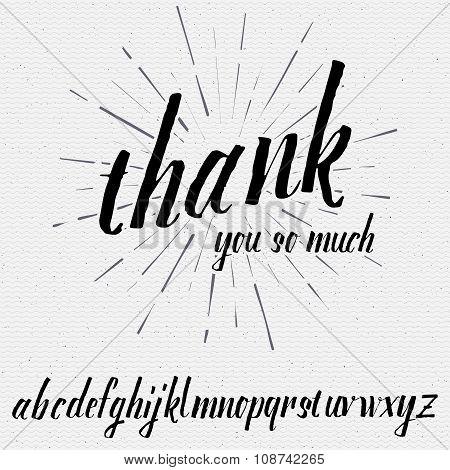 Script lettering font, handwritten calligraphic alphabet