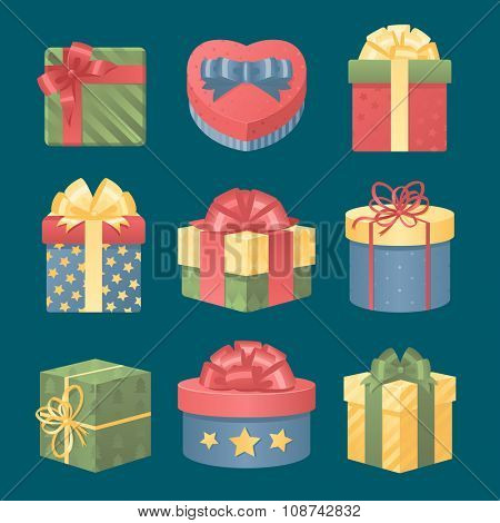 Colorful 3d gift boxes with bows and ribbons vector set. Gift boxes vector illustration. Set of vector Christmas gift box. Christmas box isolated. Christmas and birthday gift box set. Holiday gift box