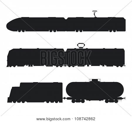 Modern and vintage trains vector black and white icons silhouette. Trains vector illustration silhouette. Trains icons silhouette isolated on white. Old and modern trains vector on railway. Travel by