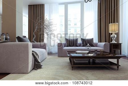 Living Room Art Deco And Modern Style