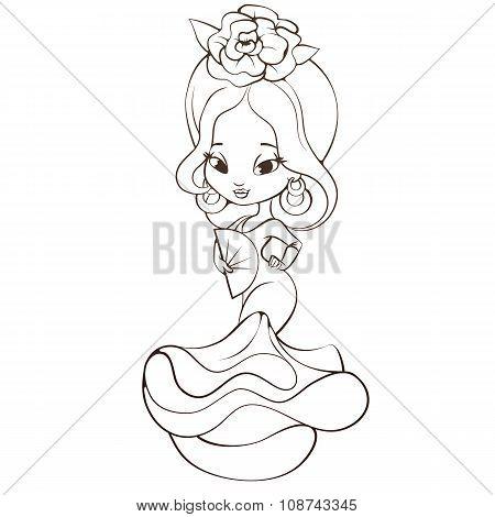 Latin Spanish Cute chibi cartoon girl