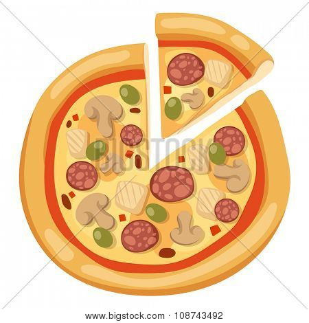 Pizza flat icons isolated on white background. Pizza food silhouette. Pizza piece, pizza slice. Pizza menu illustration isolated. Pizza vector collection isolated on white. Different pizza
