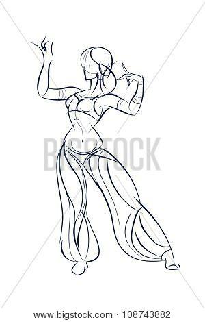 belly dancer ink sketch gesture drawing