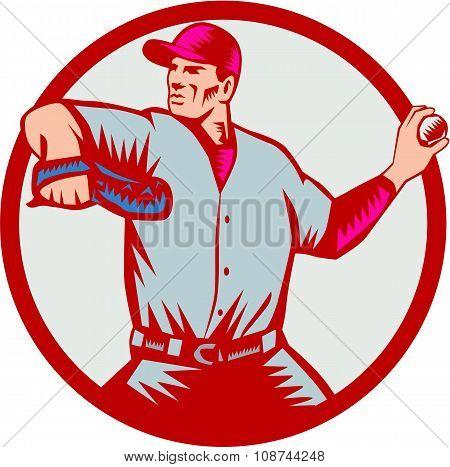 Baseball Pitcher Throwing Ball Circle Side Woodcut