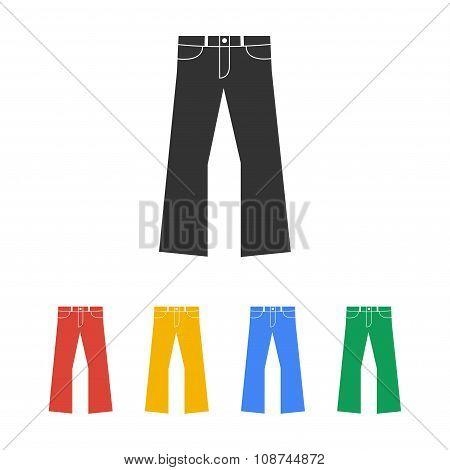 Pants Icon. Flat Design Style.