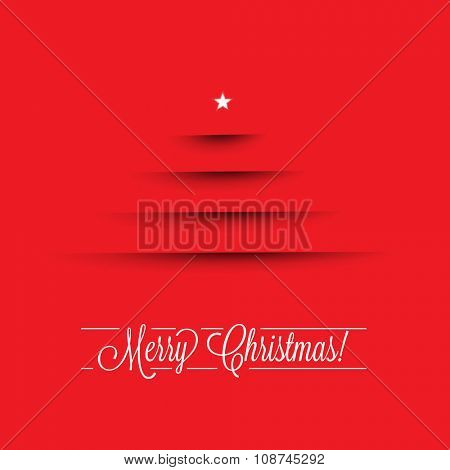 Minimal Merry Christmas Card in Red | Vector Illustration