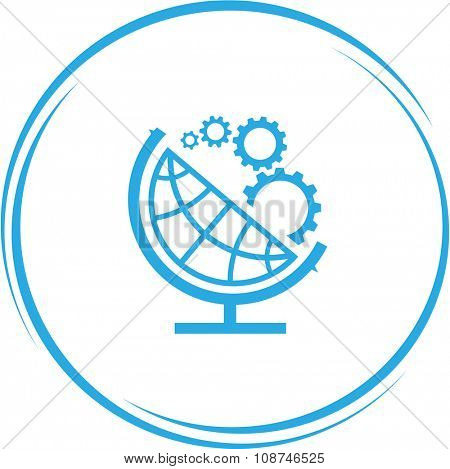 globe and gears. Internet button. Vector icon.