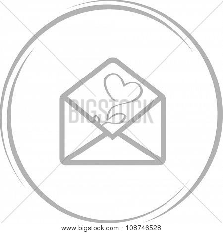 mail with tulip. Internet button. Vector icon.