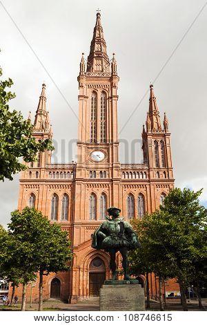 WIESBADEN, GERMANY -MAY 5, 2013: famous Marktkirche in Wiesbaden Germany from outside