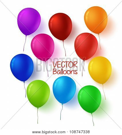 olorful Set of Birthday Balloons with Glossy and Shiny Colors
