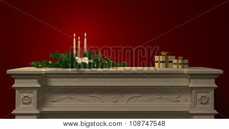 Christmas Decoration With Candles On The Fireplace 3D Rendering