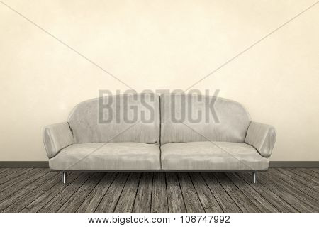 3d render of a shabby room with a sofa