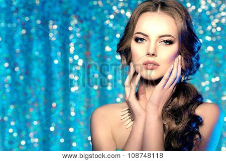 Long hair. Waves Curls Hairstyle. Hair Salon. Fashion model with shiny hair. Woman with healthy hair girl with luxurious haircut. Hair loss Woman with hair volume.