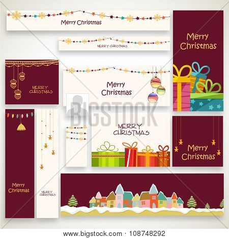 Creative social media ads, post, headers or banners for Merry Christmas celebration.