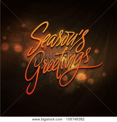 Elegant shiny greeting card with stylish text Season's Greetings for Happy New Year celebration.