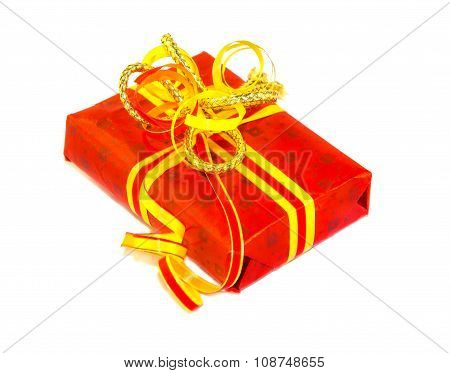 Red Gift Box Isolated Over White.