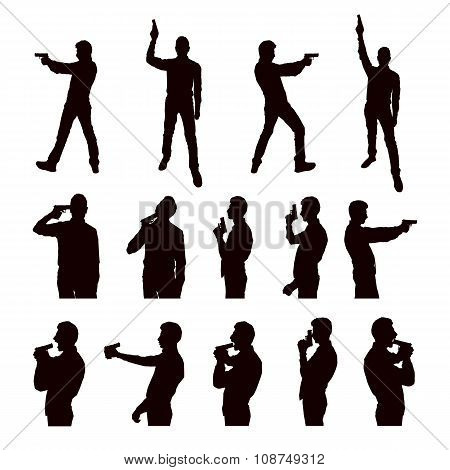 Silhouettes of person with the gun