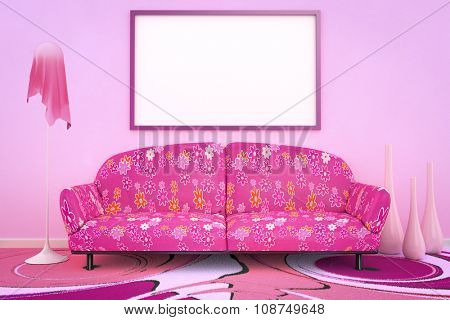 3D interior rendering of a pink flower power sofa