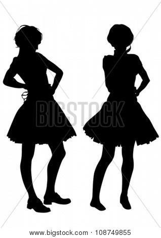Young girls in dress on white background