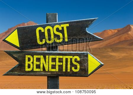 Cost Benefits signpost in a desert background