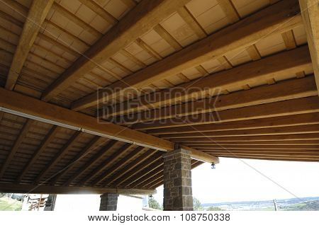 A detail of a wooden porch