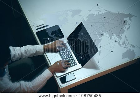 Top View Of Man Working With Business Documents On Office Table With Digital Tablet And Man Working