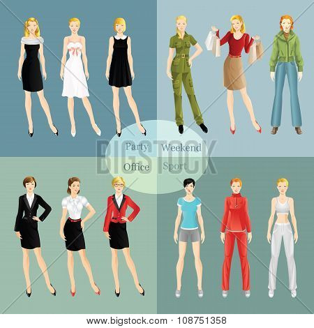 Collection of girl in different clothes